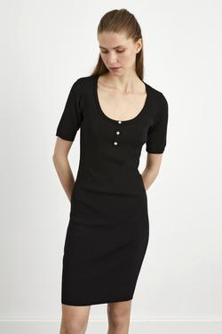 Kısa Kol Patlı Triko Elbise