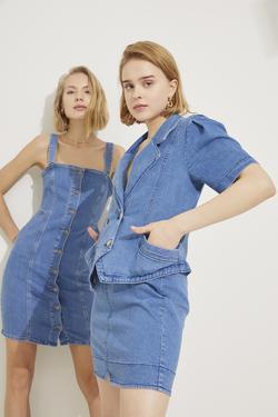 Askılı Önden Düğmeli Jean Elbise