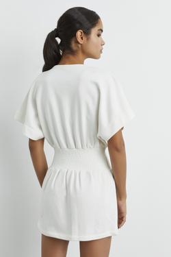 Beli Lastikli Yarasa Kollu Elbise