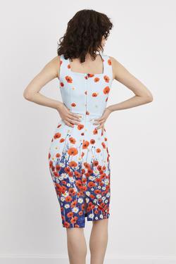 Desenli Diz Altı Elbise