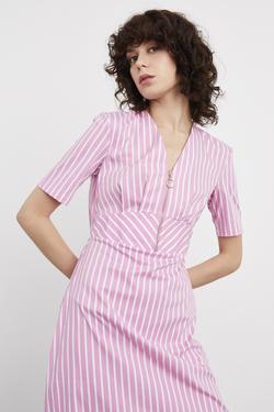 Önü Fermuarlı V Yaka Elbise