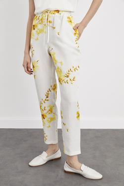 Desenli Beli Lastikli Pantolon