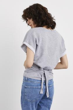 Kısa Kollu Kruvaze Örme Bluz