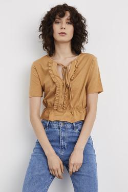 Kısa Kollu Fırfırlı Crop Bluz