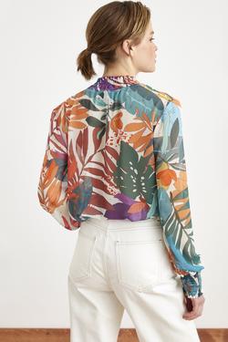 Yakası Detaylı Desenli Şifon Bluz