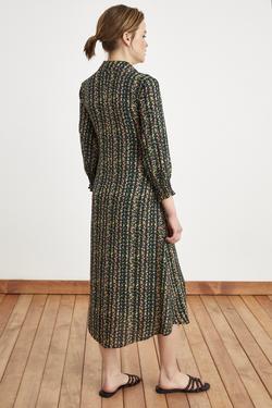 Önden Bağlamalı Desenli Elbise