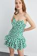 Straplez Büzgülü Desenli Elbise