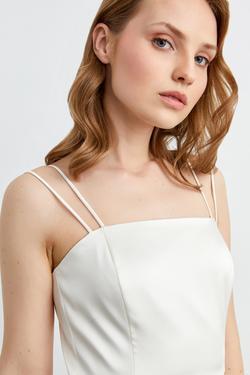 Askılı Eteği Volanlı Midi Saten Elbise