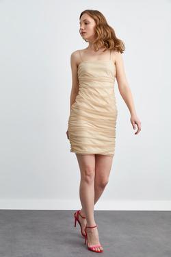 Askılı Büzgülü Mini Elbise