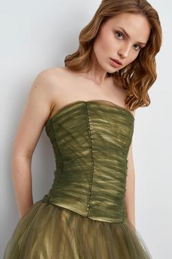 Straplez Tül Elbise