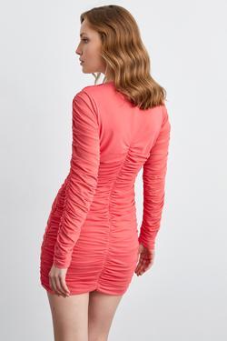 Uzun Kol Mini Büzgülü Tül Elbise