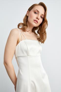 Askılı Kuplu Saten Elbise