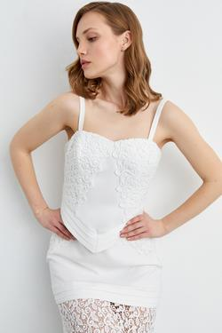 Kalp Yaka Dantel Detaylı Elbise