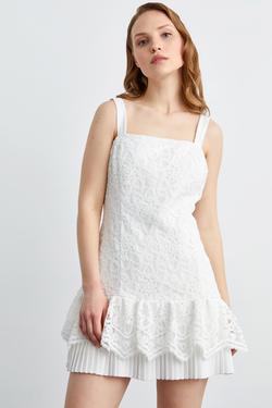 Taş İşlemeli Dantel Elbise