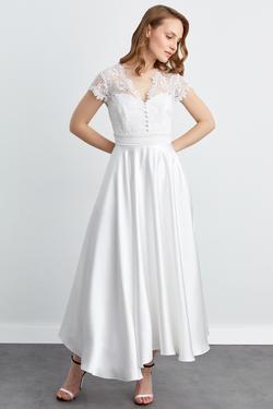 V Yaka Düğmeli Kloş Midi Elbise