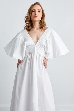 V Yaka Nervürlü  Elbise
