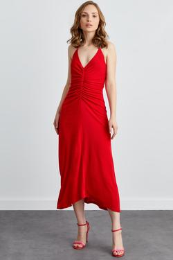 Önü Büzgülü Boyundan Bağlamalı Elbise