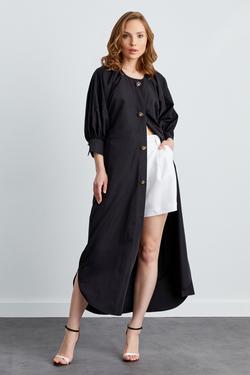 Kol Detaylı Su Patlı Tafta Elbise