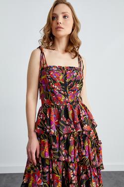 İp Askılı Fırfırlı Elbise