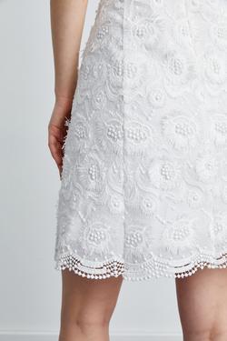 Askılı Kare Yaka Dantel Elbise