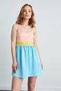 Taşlı İp Askılı Beli Piliseli Saten Mini Elbise