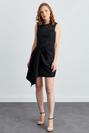 Uzun Kollu Asimetrik Etekli Mini Elbise