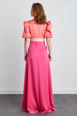 V Yaka Balon Kol Saten Uzun Elbise