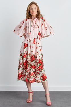 Yakası Bağlamalı V Yaka Derin Yırtmaçlı Elbise