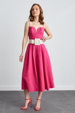 Önü Düğmeli İp Askılı Kemerli Elbise
