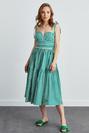 Askıları Bağlamalı Büzgülü Poplin Elbise