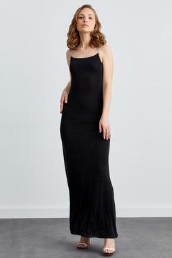 İp Askılı Derin Yırtmaçlı Uzun Elbise