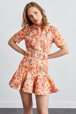 Erkek Yaka Kısa Kol Kemerli Mini Elbise
