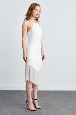 Halter Yaka İp Askılı Saçaklı Elbise