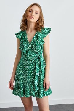 Kruvaze Bağlamalı Volanlı Elbise