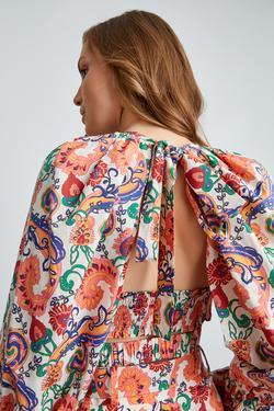 Balon Kol Sırtı Açık Desenli Bluz
