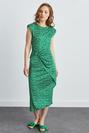 Düşük Kol Asimetrik Desenli Örme Elbise