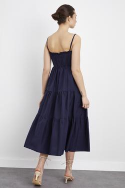Arkası Lastikli Büzgülü Poplin Elbise