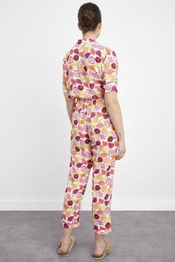 Biyeli Desenli Uzun Pijama