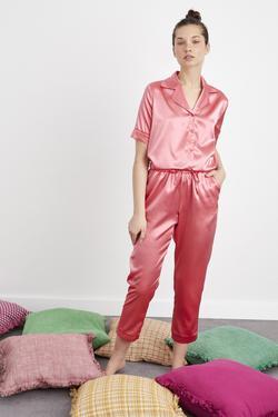 Biyeli Desenli Uzun Saten Pijama