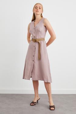 Kemerli Kolsuz Keten Elbise