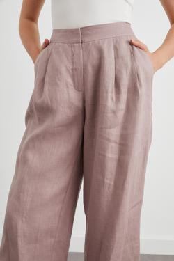Çift Pileli Bol Keten Pantolon