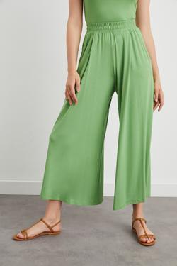 Beli Lastikli Pileli Örme Pantolon