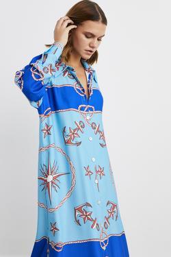 Uzun Kol Yırtmaçlı Desenli Midi Gömlek Elbise