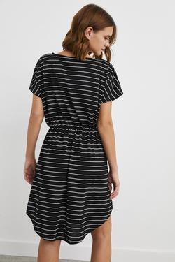Kısa Kol Lastikli Cepli Örme Elbise