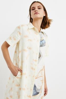Desenli Keten Gömlek Elbise