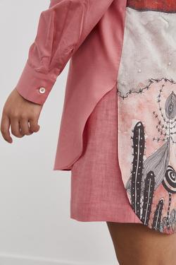 Uzun Kol Arkası Desenli Tunik