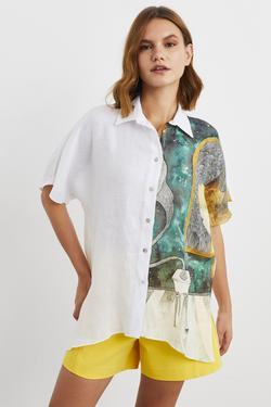 Düşük Kol Yarısı Desenli Keten Gömlek