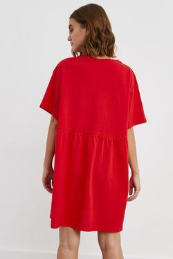 Düşük Kol Büzgülü Örme Elbise