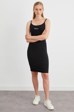 Sırtı Dekolteli Örme Mini Elbise