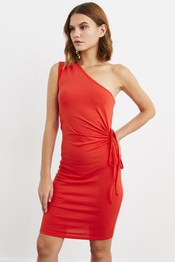 Tek Omuz Büzgülü Örme Elbise